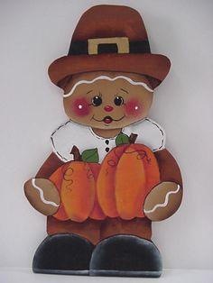 HP~~Gingerbread Pilgrim Boy with Pumpkins Halloween ~~Fridge Magnet