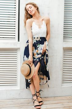 a9580f5c386 Simplee Sexy print lace summer dress