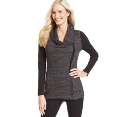 Elevate your fitness style with Calvin Klein Performance's asymmetrical zip-front jacket, featuring ribbed-knit sleeves and a heathered body. Cotton/polyester;…