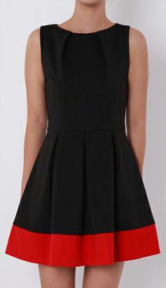Elegant Sleeveless red and black dress