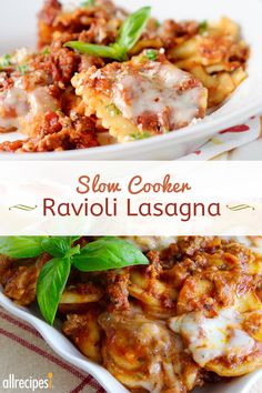 "Randy's Slow Cooker Ravioli Lasagna | ""Swap lasagna noodles with ravioli into this slow cooker lasagna recipe for an easy make-ahead dinner on busy weeknights."""
