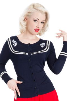 Voodoo Vixen - Sailor Girl Navy Blue Cardigan