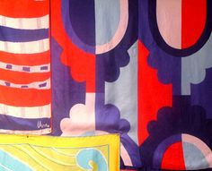 Love the red, white and blue design on the right. Vera Neumann.