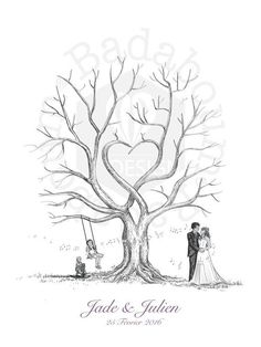Tree prints wedding or prints Tree Wedding, Wedding Guest Book, Wedding Ideas, Family Tree Art, Fingerprint Tree, Tree Print, Pyrography, Tree Of Life, Drawing Techniques