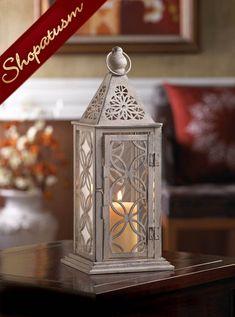 Antique Pewter Wedding Centerpiece Small Eclipse Candle Lantern