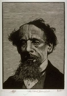 Portrait of Charles Dickens, Barry Moser, wood engraving