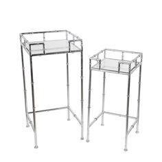 Privilege 2 Pc Plant Stands - Silver Leaf (Wood) #18948
