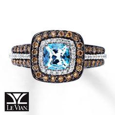 Le Vian Sea Blue Aquamarine® Ring with Chocolate Diamonds® and Vanilla Diamonds® in 14K Vanilla Gold®