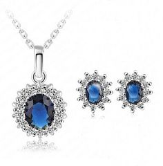 Sapphire Blue Rhinestone Crystal necklace and earrings set gold plated with adjust able chain hook.  The necklace is adjustable and will fit 17-19 The pendant and earring are same size about 15x20mm.  Good gift for bridesmaid, mother, wife, sister, friend or even yourself.  The jewelry set will come to you in a lovely Kraft paper girt box with the personal custom choice of note card. If you want something difference please feel free to ask I can make something for you. The pictures shown are…