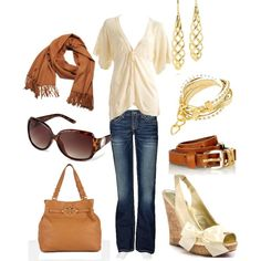 Classic Gold & Beige by ster-dub on Polyvore featuring polyvore, fashion, style, VILA, BKE, Paris Hilton, Tory Burch, Alexandra Beth Designs, Paloma Picasso and Acne Studios