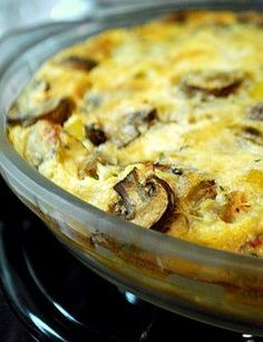 Sausage and Mushroom Crustless Quiche  1/2 medium onion, diced (1/2 cup)  6-oz cremini mushrooms (1 cup)  approx 1 – 1 1/2 cups diced sausage, cooked  2 large eggs  2 large egg whites  1/2 cup all purpose flour  1/2 tsp baking powder  1/4 tsp salt  pinch cayenne pepper  1 1/3 cups milk (low fat is fine)  1/4 cup grated Parmesan cheese