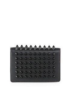 Christian Louboutin Milos Spiked Leather Foldover Wallet   Bag