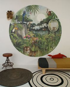The new Wallpaper circle Mighty Jungle by Hartendief is one of the new collection 2017 designs. This watercolor and pencil illustration paints an exciting background with an original circular wallpaper. You can almost hear the tigers roar! The diameter of this wallpaper circle is 190 centimeter. Wallpaper Mighty Jungle costs €109,95 each. #mightyjungle #jungleroom #kidsroom #barnerom #kinderzimmer #jungle #rainforest #tigers #elephant #kids #childrendesign #nursery #nurseryinspo #jungletheme…