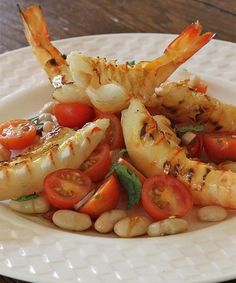 ~@ Cherry Tomato Salad With Barbecued Prawns @~