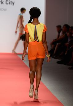 A model walks the runway wearing designer Haley Hysong's collection at the The Art Institute Of New York City Spring 2014 fashion show during Mercedes-Benz Fashion Week at The Stage at Lincoln Center on September 5, 2013 in New York City.