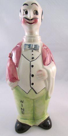 Vintage Figurine Waiter Wine Liquor  Decanter by TimeGoneByVintage, $24.00