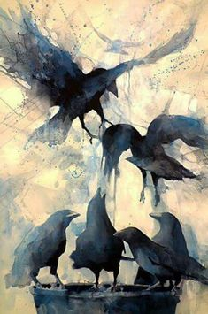 a murder is announced watercolour crow wildlife painting art Beautiful Sarah Yeoman, musecraft