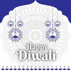 Diwali Graphic With Blue Mandala Vector and PNG Mandala Pattern, Mandala Design, Diwali Poster, Diwali Wallpaper, Space Watercolor, Label Shapes, Indian Mandala, Diwali Festival, Happy Diwali