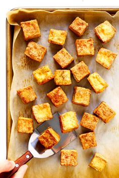 This Crispy Baked Tofu recipe is the BEST! It's quick and easy to make totally customizable with your favorite seasonings or sauces naturally gluten-free and vegan and perfect for adding to a soup stir-fry curry or whatever sounds good. Veggie Recipes, Cooking Recipes, Healthy Recipes, Vegan Tofu Recipes, Pork And Tofu Recipe, Best Baked Tofu Recipe, Crispy Fried Tofu Recipe, Simple Tofu Recipes, Healthy Fats