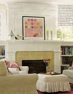 Idea: paint wall white above mantel/fireplace...add molding at ceiling height and on wall in a square. Instant class fireplace.