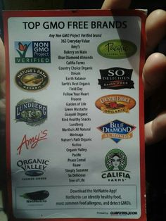 Gmo Free Gardening Top Non GMO Brands. Amy's and Blue Diamond are in the clear! Gmo Facts, Food Shopping List, Healthy Shopping, Nutrition Sportive, Genetically Modified Food, Toxic Foods, Eating Organic, Organic Cooking, Organic Recipes