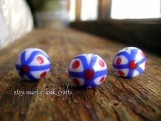 Bead Pattern 47: Anglo-Saxon red, white and blue bead (reproduction)