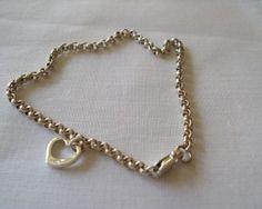 Sterling Silver Single Open Heart Bracelet