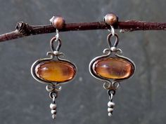 Earrings- Vintage Dragons Breath Cabochon Post Earrings  in Sterling Silver and Copper from ElizabethsArtJewelry on Etsy