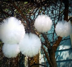 Large Tulle Pom Pom Balls - Custom Unique handmade decorations, 12 inch diameter - 34 color choices. $10.00, via Etsy.