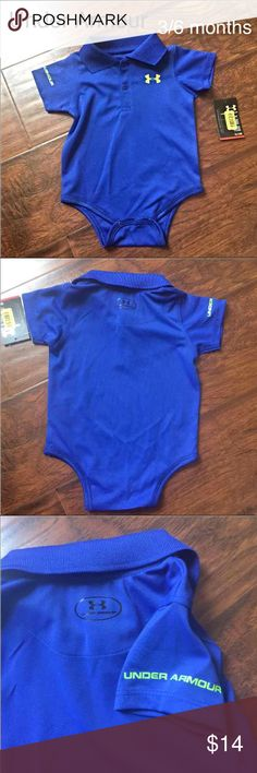 Baby Under Armour onsie polo ✨NWT✨Under Armour baby onsie polo style, SIZE 3/6 MONTHS. Performance heat gear to keep baby sporty and cool. Snaps at the bottom for easy diaper change.  Soooo CUTE❤️❤️! MSRP $20 •••MAKE THE MOST OF SHIPPING COST AND BUNDLE --TAKE A LOOK AT MY OTHER LISTINGS ••• ✨SMOKE AND PET FREE HOME  Baby clothes  Infant clothes  Maternity Under Armour One Pieces Bodysuits