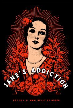 Jane's Addiction gig poster by Scrojo