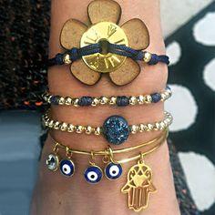 Set By Vila Veloni Golden Blue King Rope And Steel Hamsa Bracelets