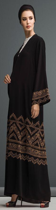 Mauzan abaya Dubai..Work : Kashmiri Design Embroidery Fabric : Black Crepe