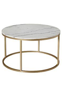 Rundt sofabord med plate av marmor og stamme av metall. Da marmor er et naturmateriale er det normalt at sm� avvik i st�rrelse, farge og struktur forekommer. � 85 cm. H�yde 48 cm. Lev. umontert. Fraktvekt 45 kg. 2299,-