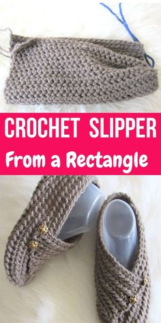 Try this easy crochet slipper free pattern for beginners. This house shoe for a woman is made from a simple rectangle. How cool is that? The crochet tutorial also includes a step by step video. #crochetslippers, #easycrochetslippers, #crochstslippersfreepattern Easy Crochet Slippers, Crochet Slipper Pattern, Crochet Socks, Cute Crochet, Crochet Crafts, Crochet Clothes, Crochet Stitches, Crochet Projects, Knit Crochet