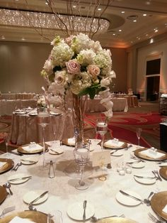 Cascading orchids for this table at the Omni Providence -designed by Golden Gate Studios