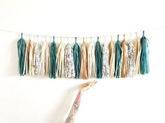 Balsam Green Silver and Copper Tassel Garland Eucalyptus