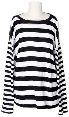 Double Striped Tee| Fall & Winter | Dolly & Molly | www.dollymolly.com | #black #monotone #top #fw2013 #fashionweek #designer #pickup #nycfw #la #basictop