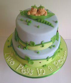 Twin Baby Shower Cake - by CakeyCake @ CakesDecor.com - cake decorating website