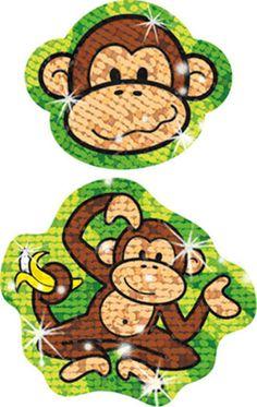 Sparkle Stickers Lively Monkeys by Trend Enterprises Inc. $1.99