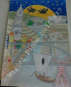 Porto, premiado. Pintura a lapis no papel com 80 X 60