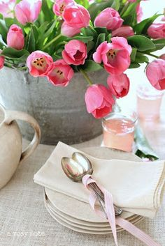 The Easter Table...Tulips!