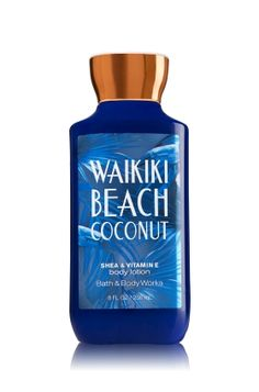 Waikiki Beach Coconut - Body Lotion - Signature Collection - Bath & Body Works - Welcome to paradise! Infused with shea butter and our exclusive Daily Moisture Complex, our enhanced lotion contains more of what skin loves. Fortified with nutrient-rich ingredients like protective vitamin E, coconut oil and conditioning vitamin B5, our fast-absorbing, non-greasy formula delivers 16 hours of continuous moisture.