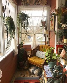 BOHEMIAN DECOR on I could spend the whole day here, reading a good book and drinking earl grey What do you think (source unknown, please dm for Teenage Room Decor, Teen Decor, Home Design, Interior Design, Sun Room Design, Dream Apartment, Aesthetic Room Decor, Deco Design, Dream Rooms