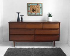 Vintage Mid Century Dresser Wood Credenza Modern by Hindsvik Mid Century Dresser, Mid Century Decor, Mid Century House, Mcm Furniture, Vintage Furniture, Furniture Design, Custom Furniture, Mid Century Modern Design, Mid Century Modern Furniture