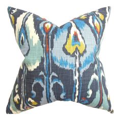 Bring an exotic pop of style to your sofa or favorite reading nook with this eye-catching pillow, featuring a multicolor ikat motif and feather-down fill. Ma...