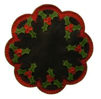 Holly Berry Penny candle mat and source for USA wool felt by the yard