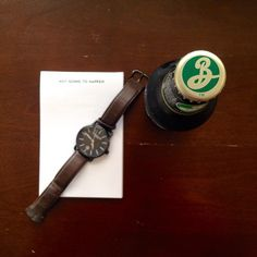 Celebrating Sunday Funday with some help from #BrooklynBrewery. Brown leather watch by Stuhrling. Notepad by #TerrapinStationers.