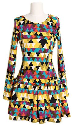 Colorful Triangles Pattern Dress | Fall & Winter | Dolly & Molly | www.dollymolly.com | #pink #red #white #xmas #idea #dressup #outfit #lookbook #cute #funny #yellow #mustard #color
