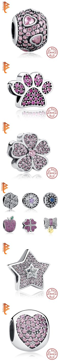 Fit Original Pandora Charm Bracelet 925 Sterling Silver Flower,Bow Knot Heart,Snowflake Beads Crystal Charms DIY Jewelry Making